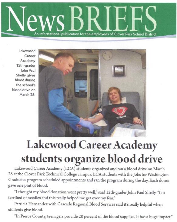Lakewood Career Academy Blood Drive 2014